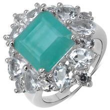 7.91 Carat Genuine Emerald .925 Sterling Silver Ring #78482v3