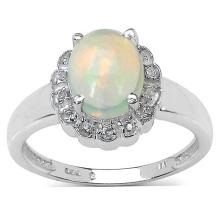 1.30 ct. t.w. Ethiopian Opal and White Topaz Ring in Sterling Silver #77327v3