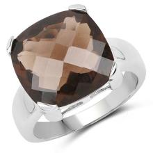 12.10 Carat Genuine Smoky Quartz .925 Sterling Silver Ring #77063v3