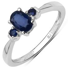 0.64 Carat Genuine Blue Sapphire Sterling Silver Ring #76745v3