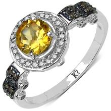 0.89 Carat Genuine Citrine and 0.31 ct.t.w Genuine Diamond Accents Sterling Silver Ring #77856v3
