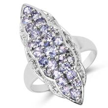 1.03 Carat Genuine Tanzanite & White Topaz .925 Sterling Silver Ring #77405v3