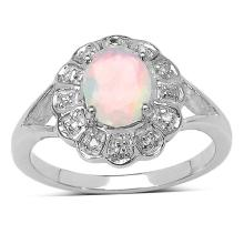 0.50 ct. t.w. Ethiopian Opal and White Topaz Ring in Sterling Silver #77321v3