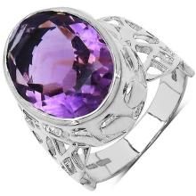 7.83 Carat Genuine Amethyst .925 Sterling Silver Ring #77529v3