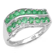 0.80 Carat Genuine Emerald Sterling Silver Ring #76794v3