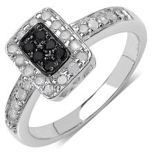 0.32 Carat Genuine Black Diamond & White Diamond .925 Streling Silver Ring #77343v3