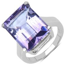 11.40 Carat Genuine Amethyst Sterling Silver Ring #77122v3