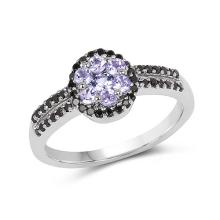 0.60 Carat Genuine Tanzanite and Black Spinel .925 Sterling Silver Ring #77942v3