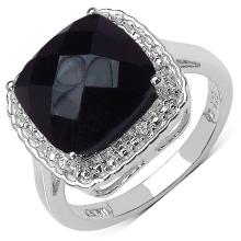 4.40 Carat Genuine Black Onyx .925 Sterling Silver Ring #76817v3