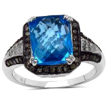 3.96 Carat Genuine Swiss Blue Topaz and 0.34 ct.t.w Genuine Diamond Accents Sterling Silver Ring #77363v3