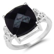 5.53 Carat Genuine Black Onyx & White Topaz .925 Sterling Silver Ring #76804v3