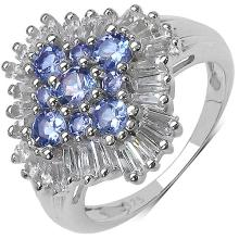 2.55 Carat Genuine Tanzanite & White Topaz .925 Sterling Silver Ring #78010v3