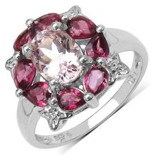 2.64 Carat Genuine Morganite & Rhodolite .925 Sterling Silver Ring #77422v3
