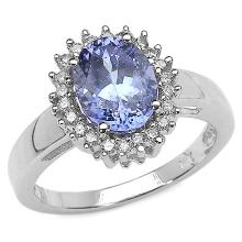 1.86 Carat Genuine Tanzanite and 0.24 ct.t.w Genuine Diamond Accents Sterling Silver Ring #76990v3