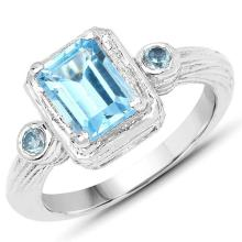 2.11 Carat Genuine Swiss Blue Topaz .925 Sterling Silver Ring #77452v3