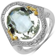 8.14 Carat Genuine Green Amethyst and 0.06 ct.t.w Genuine Diamond Accents Sterling Silver Ring #76764v3