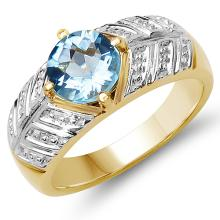 14K Yellow Gold Plated 1.70 Carat Genuine Blue Topaz .925 Sterling Silver Ring #77314v3