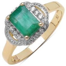 1.10 Carat Genuine Emerald & White Cubic Zircon 14K Yellow Gold Ring #77766v3