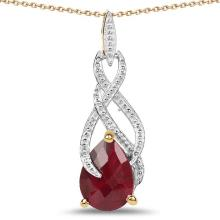 14K Yellow Gold Plated 7.48 Carat Genuine Ruby .925 Sterling Silver Pendant #77262v3