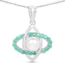 2.60 Carat Genuine Emerald and Pearl .925 Sterling Silver Pendant #76839v3