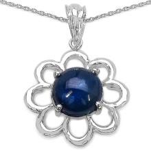 4.65 Carat Genuine Sapphire .925 Sterling Silver Fancy Pendant #76970v3