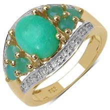 14K Yellow Gold Plated 6.87 Carat Genuine Crysopharse, Emerald & White Topaz .925 Streling Silver Ring #78480v3