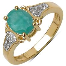 14K Yellow Gold Plated 1.24 Carat Genuine Emerald & White Topaz .925 Streling Silver Ring #78468v3