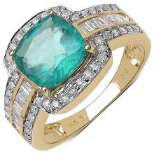 1.97 Carat Genuine Zambian Emerald and 0.53 ct.t.w Genuine Diamond Accents 14K Yellow Gold Ring #77762v3