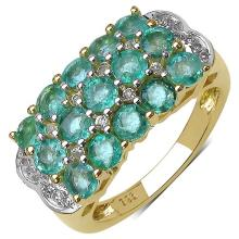 14K Yellow Gold Plated 2.44 Carat Genuine Emerald & White Topaz .925 Streling Silver Ring #78164v3