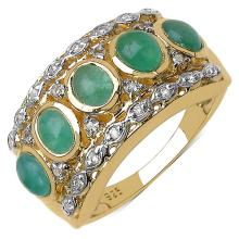 14K Yellow Gold Plated 1.95 Carat Genuine Emerald .925 Sterling Silver Ring #78406v3