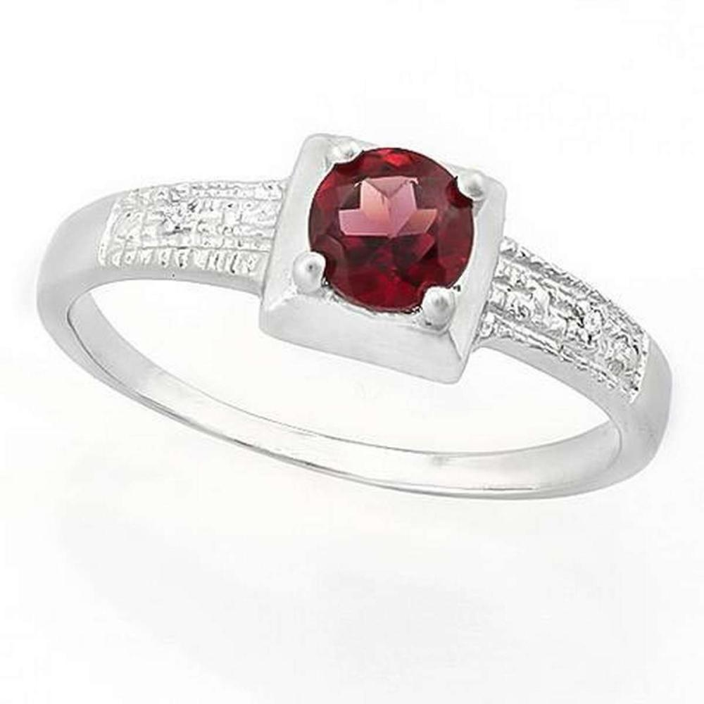 3/5 CARAT GARNET  DIAMOND 925 STERLING SILVER RING #IRS36288