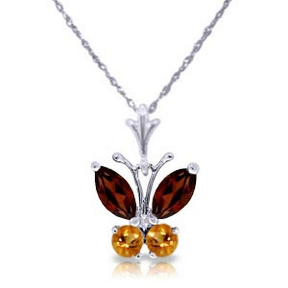 0.6 Carat 14K Solid White Gold Butterfly Necklace Garnet Citrine #IRS92065