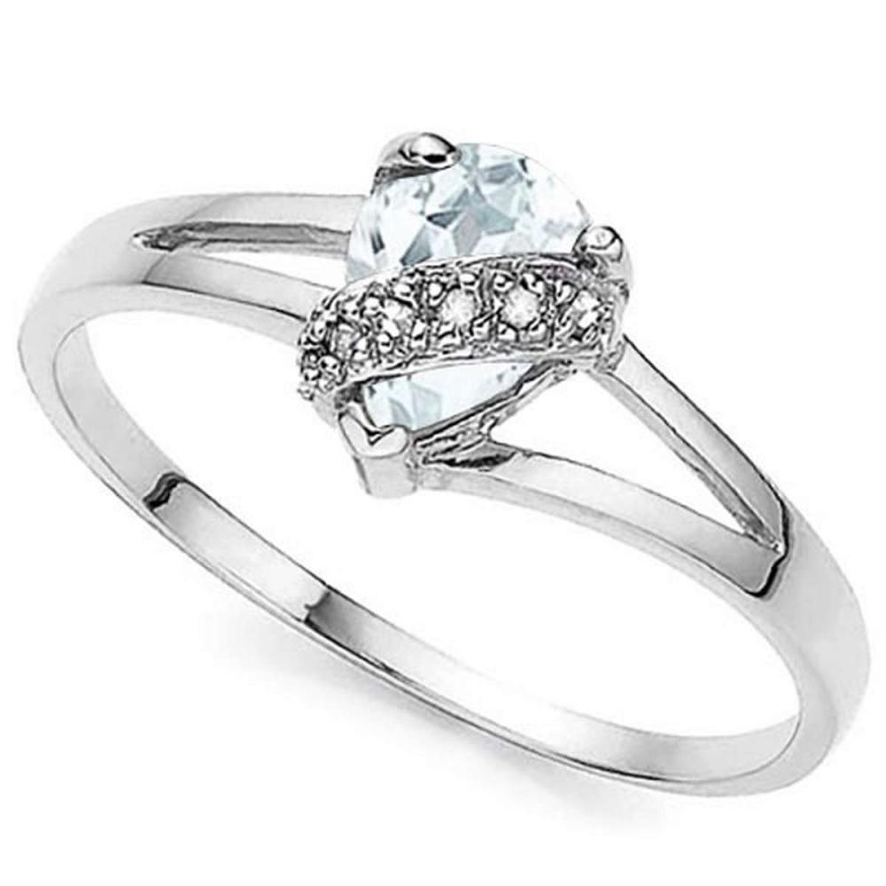 0.5 CTW GENUINE AQUAMARINE & GENUINE DIAMOND (6 PCS) 10KT SOLID WHITE GOLD RING #IRS57268