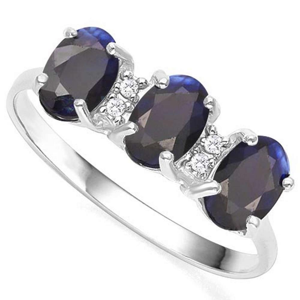 1.85 CTW GENUINE BLACK SAPPHIRE & GENUINE DIAMOND (4 PCS) 10KT SOLID WHITE GOLD RING #IRS57332