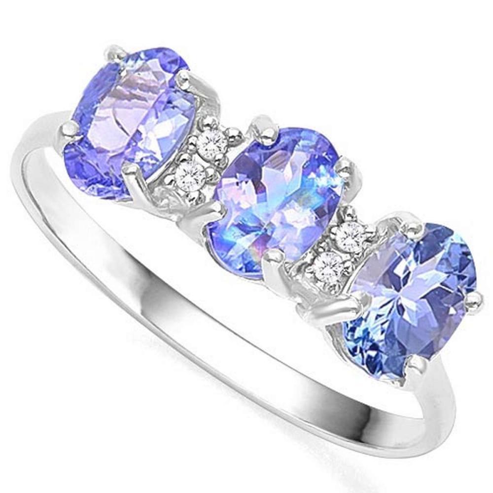 1.13 CTW GENUINE TANZANITE & GENUINE DIAMOND (4 PCS) 10KT SOLID WHITE GOLD RING #IRS57331