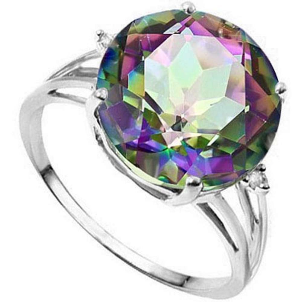 6.15 CTW GENUINE MYSTIC GEMSTONE & GENUINE DIAMOND (2 PCS) 10KT SOLID WHITE GOLD RING #IRS57288