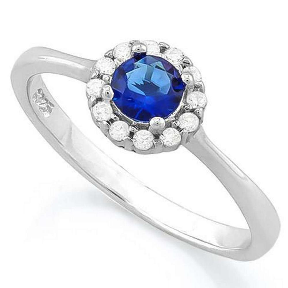 1/2 CARAT CREATED BLUE SAPPHIRE  (12 PCS) FLAWLESS CREATED DIAMOND 925 STERLING SILVER HALO RING #IRS36260