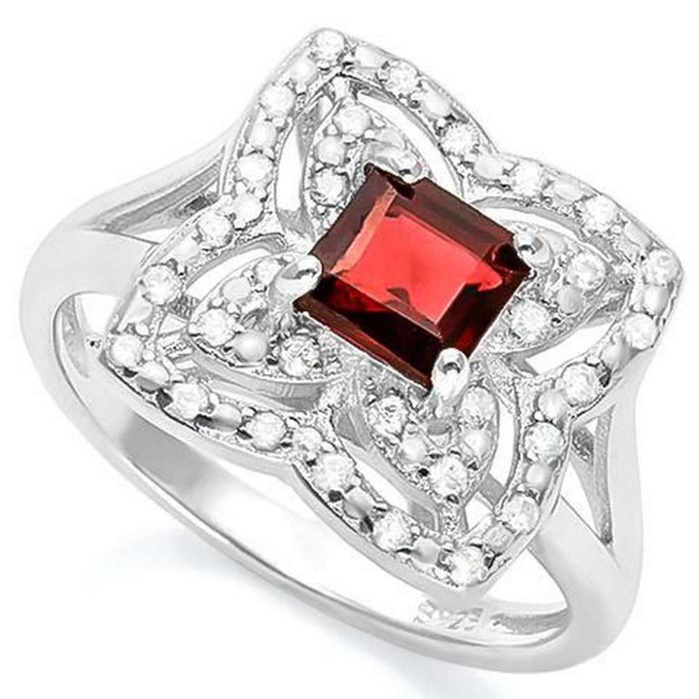 1 CARAT GARNET & (32 PCS) FLAWLESS CREATED DIAMOND 925 STERLING SILVER RING #IRS36269