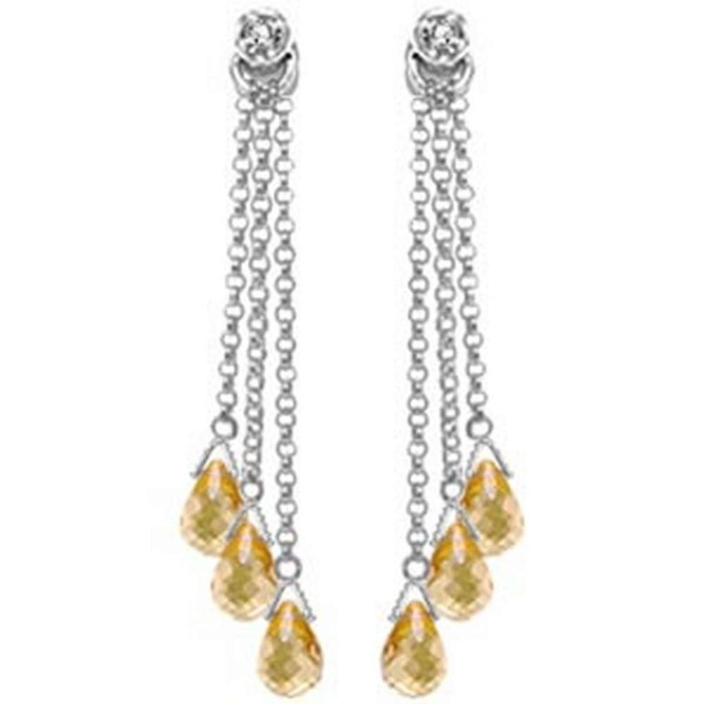 14K Solid White Gold Chandelier Earrings withDiamonds & Citrines #IRS91648