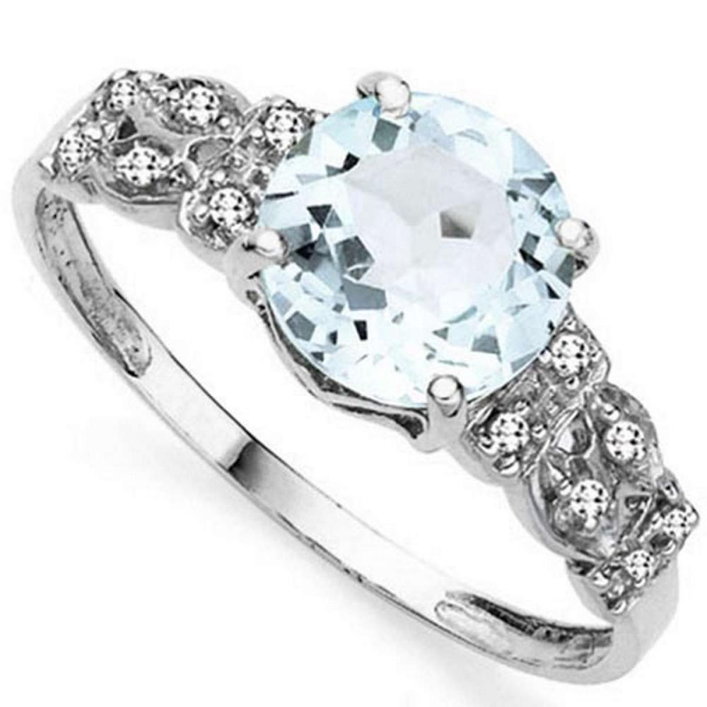 1.9 CTW GENUINE AQUAMARINE & GENUINE DIAMOND (12 PCS) 10KT SOLID WHITE GOLD RING #IRS57320