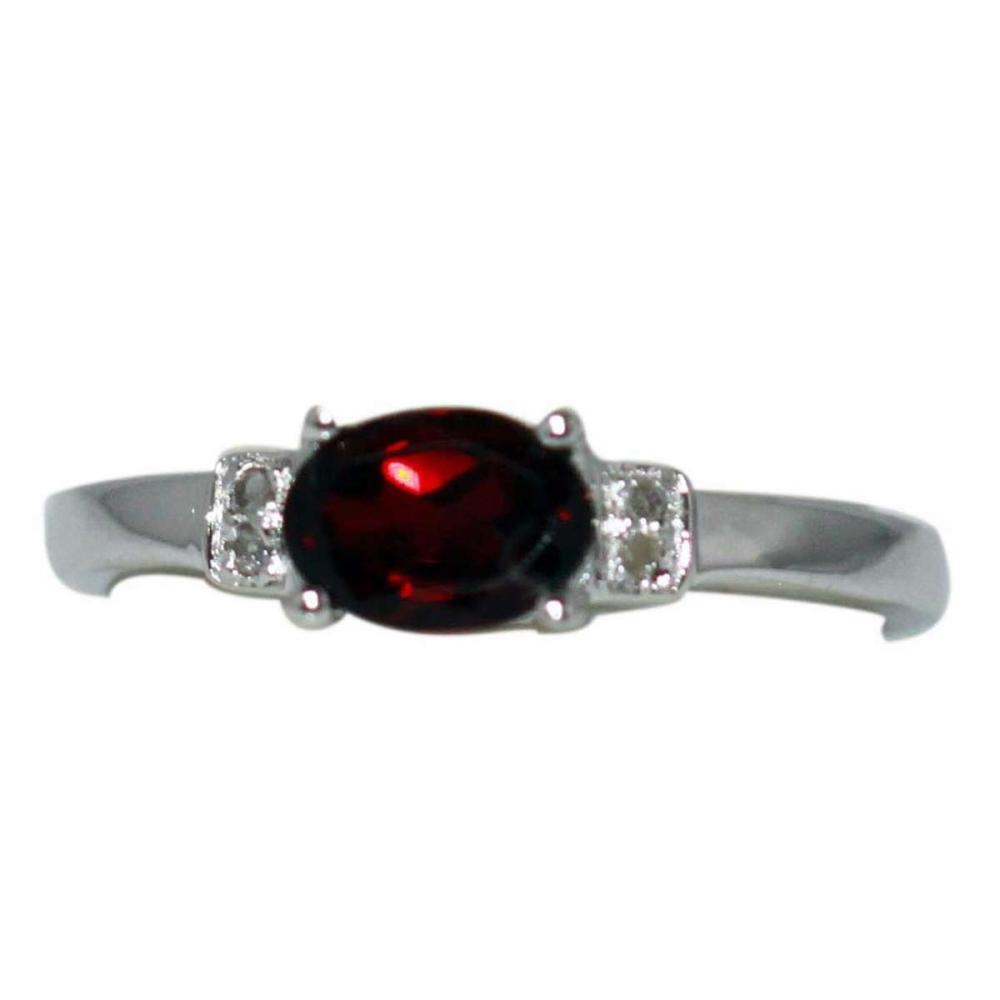 0.72 CTW Garnet and diamond  Ring .925 Sterling Silver #IRS47280