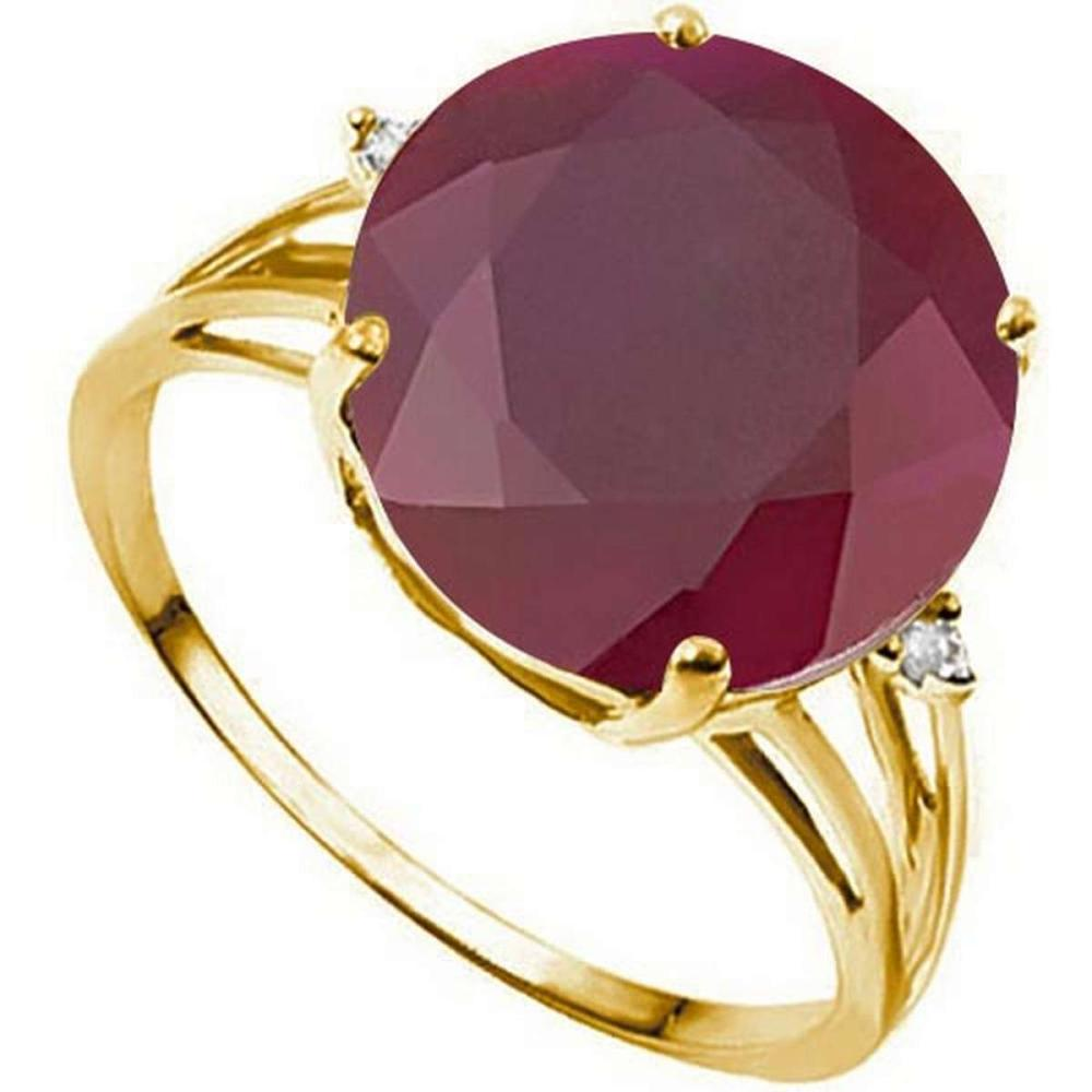 7.40 CTW GENUINE RUBY & GENUINE DIAMOND (2 PCS) 10KT SOLID YELLOW GOLD RING #IRS50911