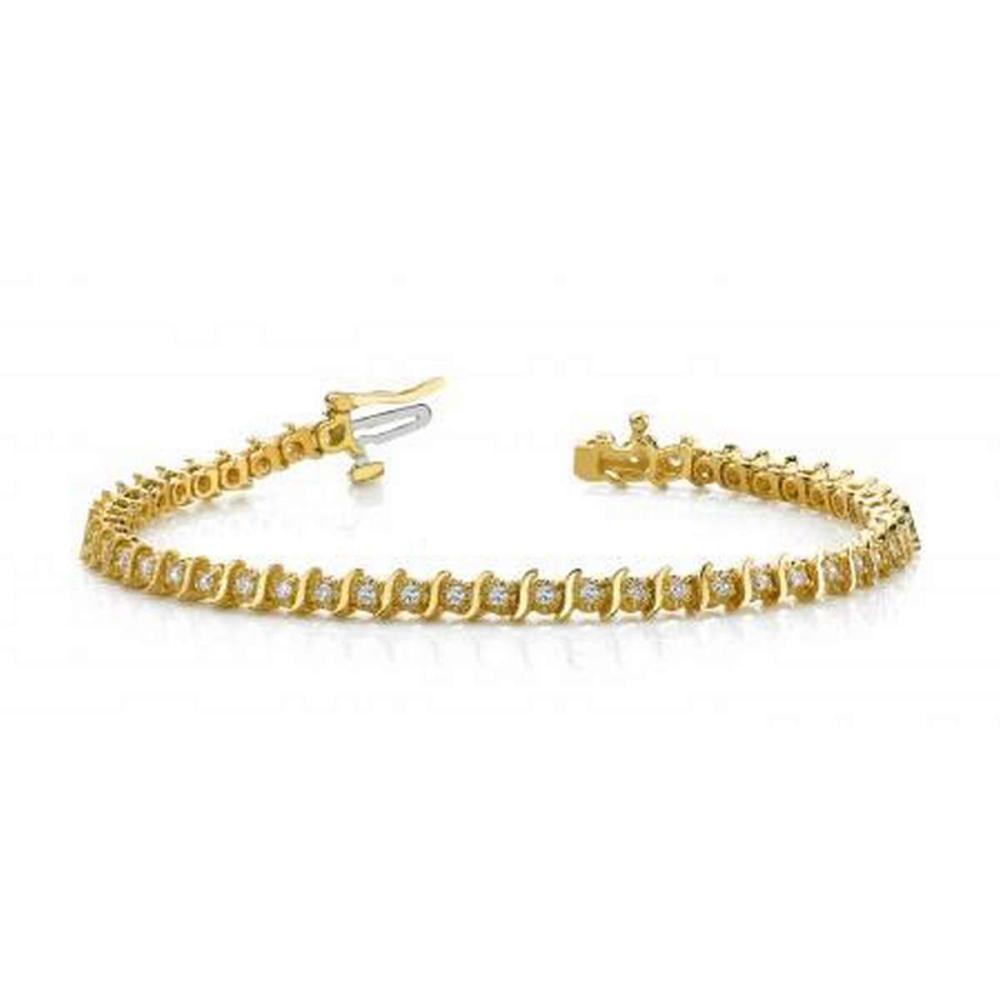 14KT YELLOW GOLD 1 CTW G-H VS2/SI1 CLASSIC ILLUSION S DIAMOND TENNIS BRACELET #IRS20119