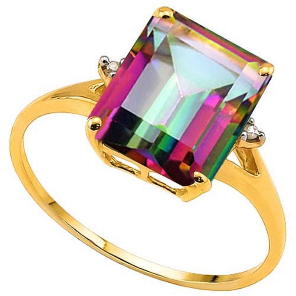 3.1 CTW MYSTIC GEMSTONE & GENUINE DIAMOND (2 PCS) 10KT SOLID YELLOW GOLD RING #IRS50959
