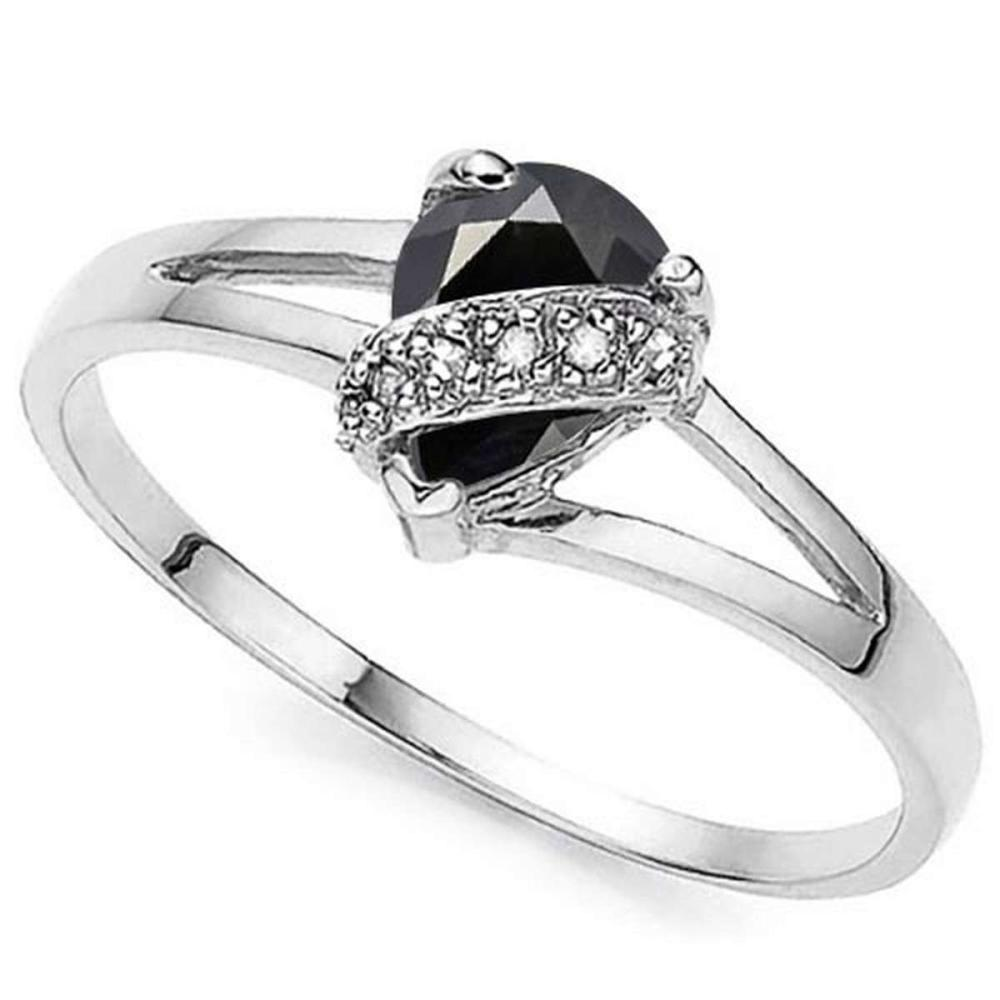 0.9 CTW GENUINE BLACK SAPPHIRE & GENUINE DIAMOND (6 PCS) 10KT SOLID WHITE GOLD RING #IRS57264