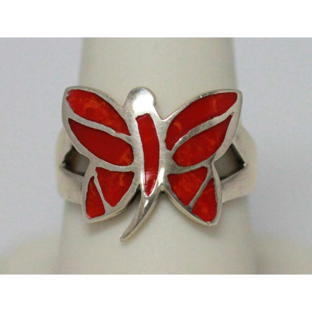 25.45 CTW CORAL BUTTERFKY RING.925 STERLING SILVER #IRS47793