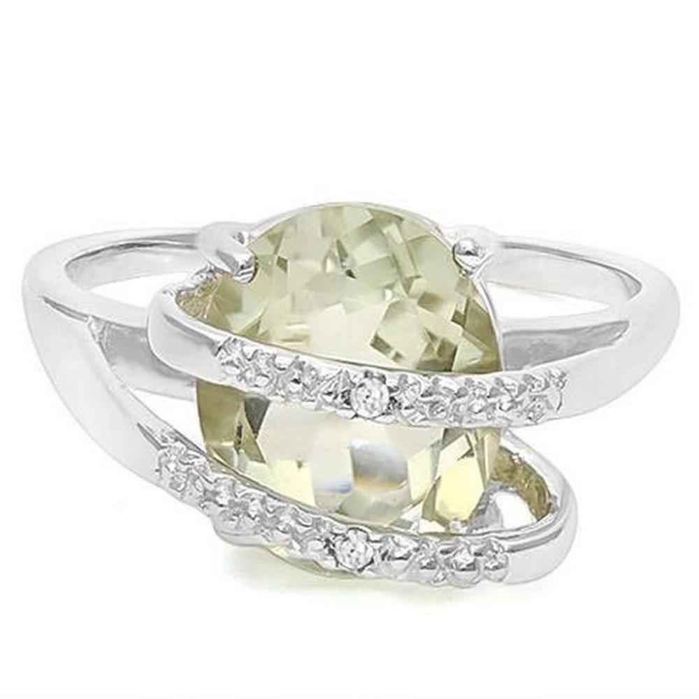 3 1/5 CT GREEN AMETHYST  DIAMOND 925 STERLING SILVER RING #IRS36348