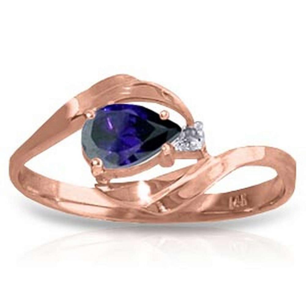 0.51 Carat 14K Solid Rose Gold Waves Sapphire Diamond Ring #IRS91623