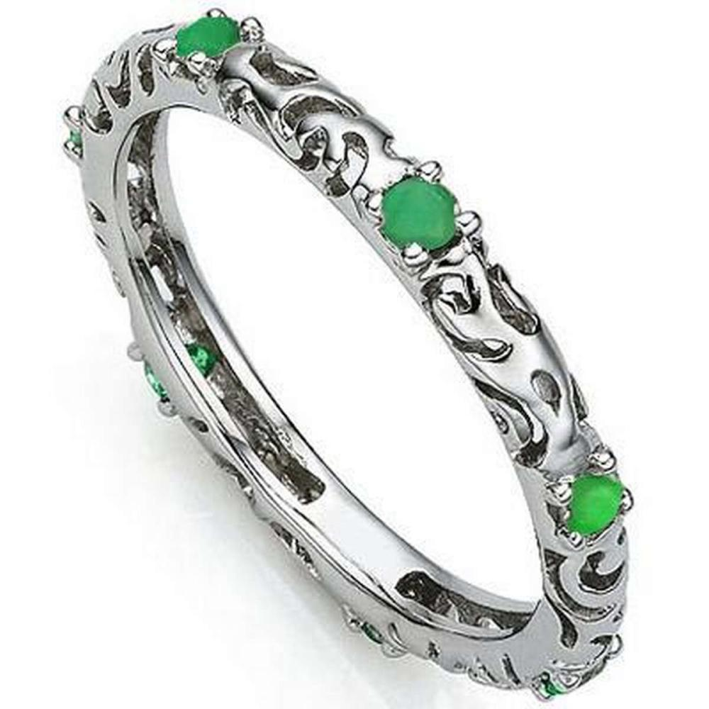 1/5 CT EMERALD 925 STERLING SILVER RING #IRS36315