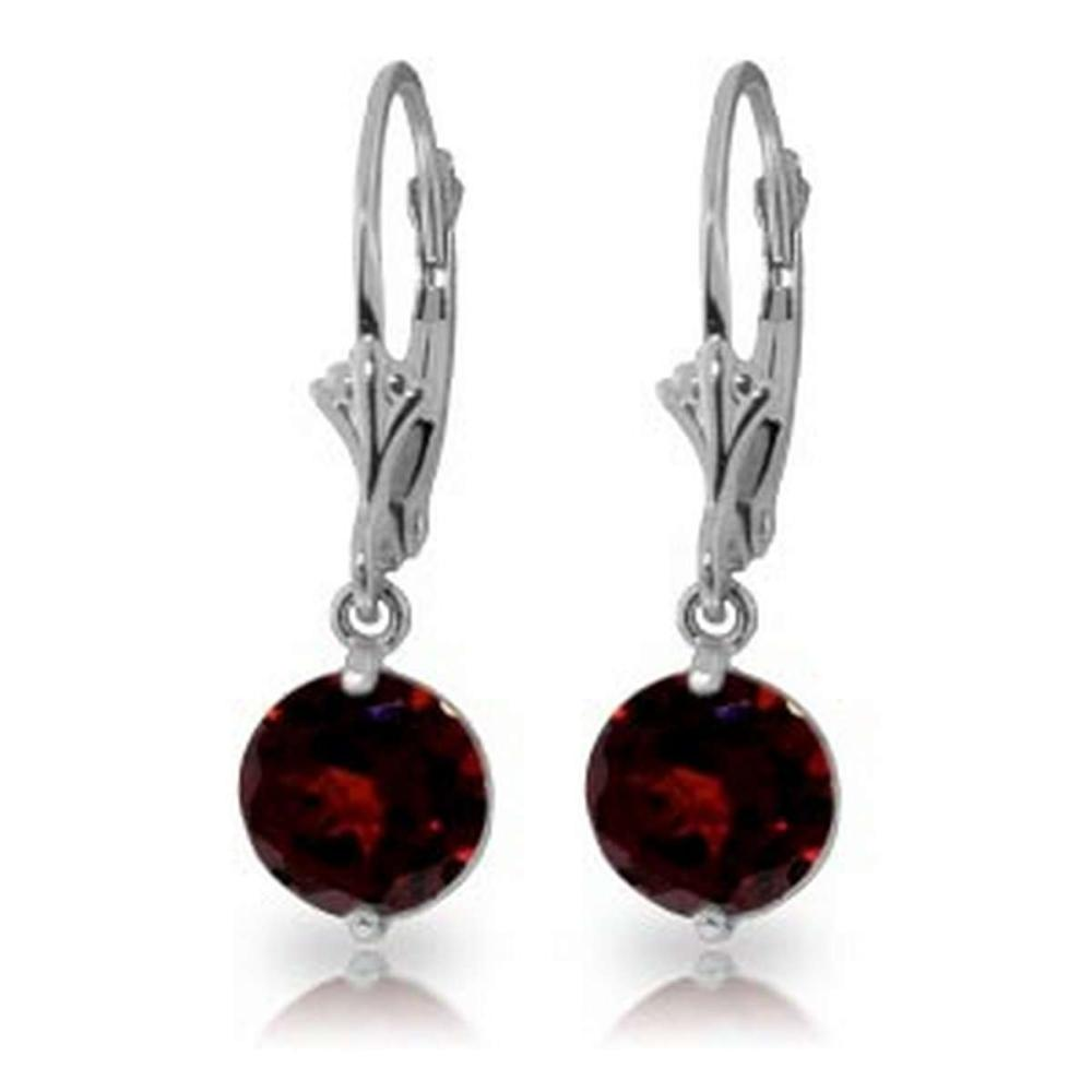 3.1 Carat 14K Solid White Gold Notwith standing Garnet Earrings #IRS92092